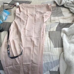 Champagne colored slit dress
